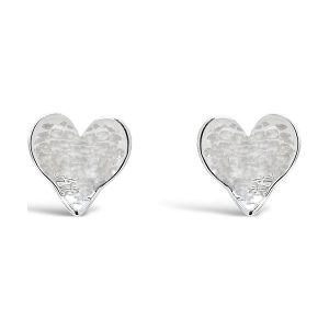 Silver Planished Heart EarStuds
