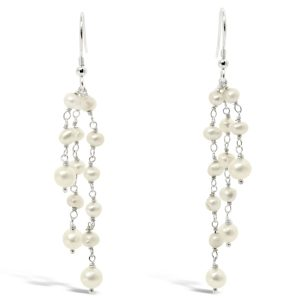 Pearl Beaded Silver Tassel Earrings