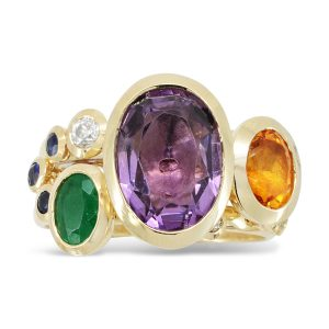 Stacking Ring Amethyst, Citrine, Diamond and Sapphire 18ct Gold
