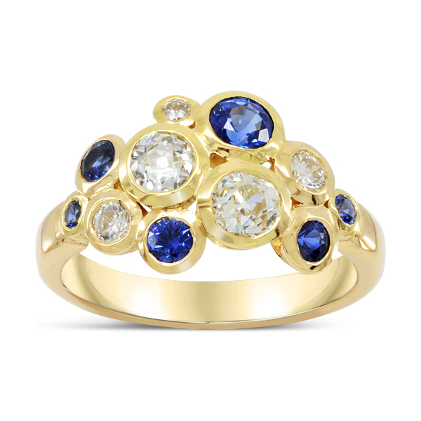 Diamond and sapphire ring in 18ct gold