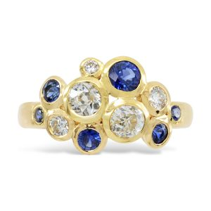 Diamond Sapphire Ring Bubble Ring 18ct Gold, Diamond and Sapphire