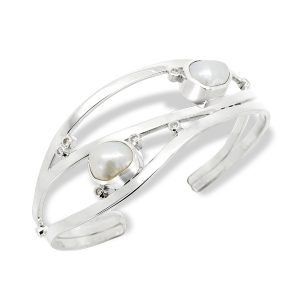 Baroque Pearl and Diamond Cuff In 9ct White Gold