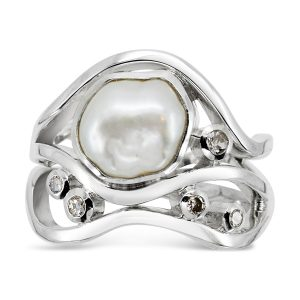 Unusual Bespoke Pearl Ring Baroque Pearl and Diamond Wave Ring
