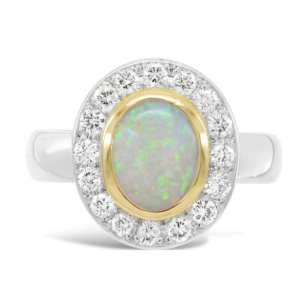 Diamond and Opal Ring Set In 18ct Gold