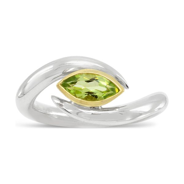 Parallel Inwards Spiky Ring Marquise Peridot