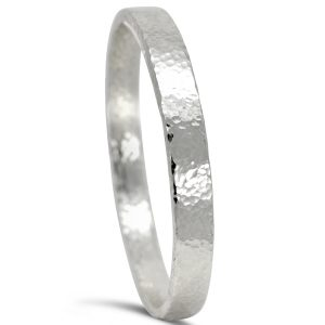 heavy silver bangle 8mm rectangular section with peened style hammered finish