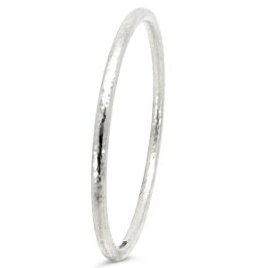 Silver Bangle, 5mm Round, Hammered