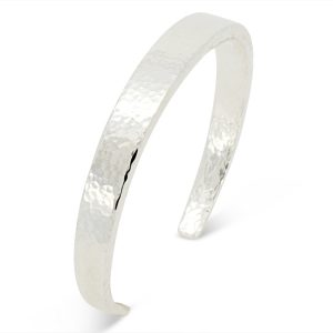 Solid silver torc bangle - peened finish