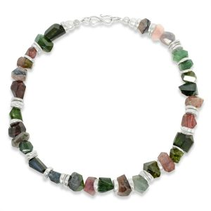 Tourmaline Chunk Disc Necklace