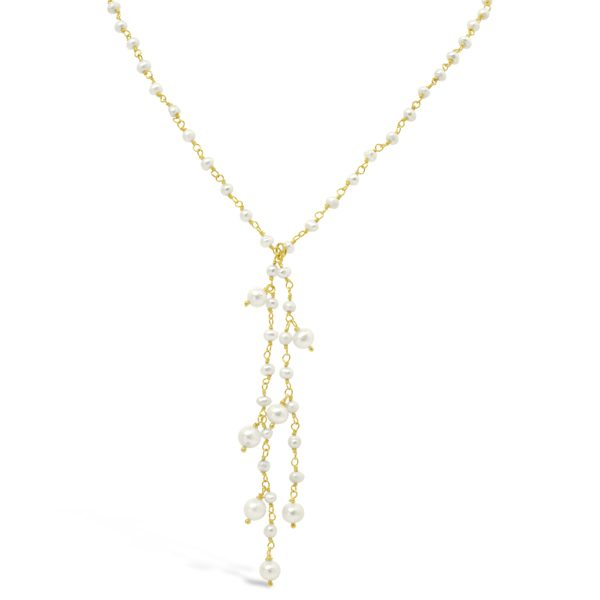 Pearl Beaded Silver Gilt Tassel Necklace