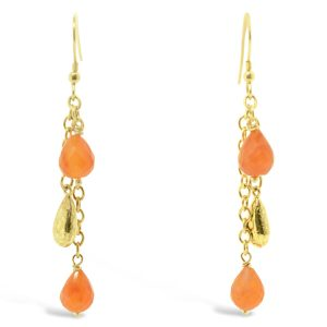 Carnelian Peened Teardrop Tassel Earrings