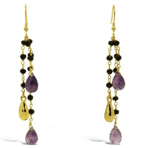 Silver Gilt Amethyst and Onyx Beaded Tassel Earrings