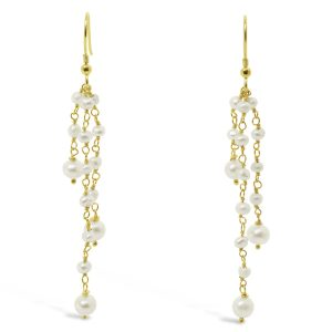 Pearl Beaded Silver Gilt Tassel Earrings