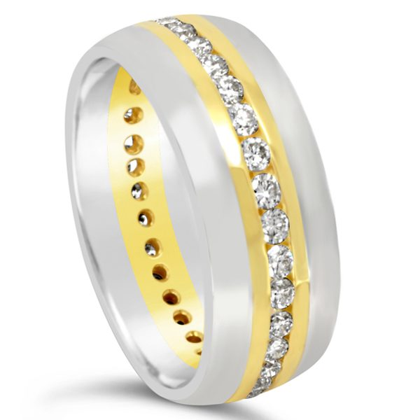 Two colour gold ring with channel set diamonds