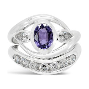 Inwards Spiky Ring Amethyst Diamond