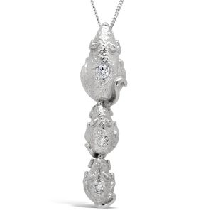 White Gold Three Mice and Diamond Pendant