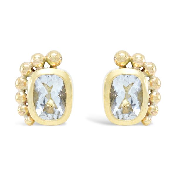 Roman 18ct Gold Ear Studs with Aquamarine