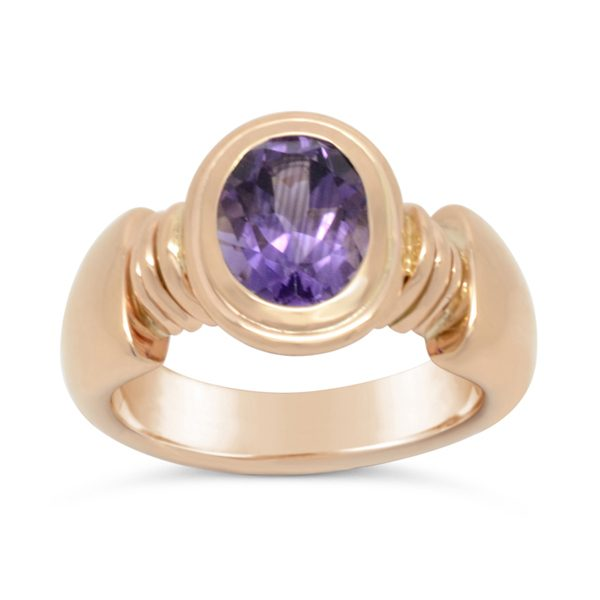 Recycled Gold Roman ring 18ct rose gold and amethyst