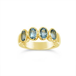 Aquamarine and Gold Eternity Ring