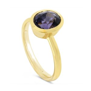 Purple Spinel Rubover Set Gold Ring