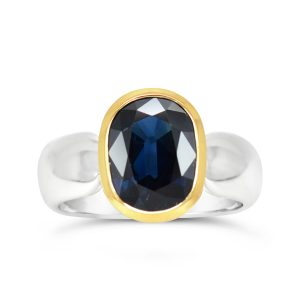 Rub Over Ring Silver and 18ct With Sapphire