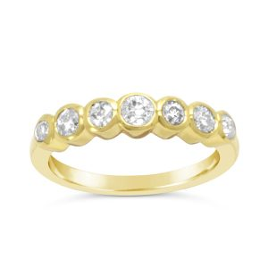 Rubover 18ct Gold Half Eternity Ring with Diamond
