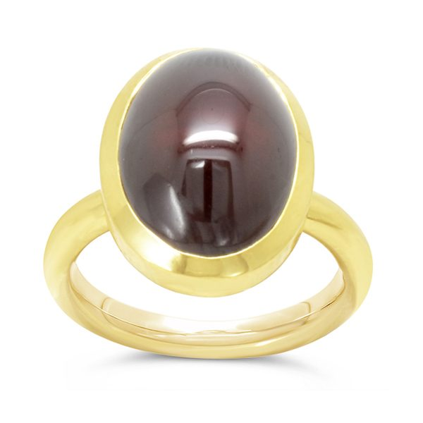 Garnet Rubover Set Gold Ring