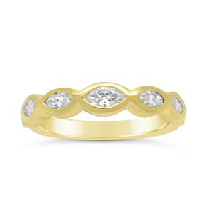 Half Eternity Ring with Rubover Marquise Diamond in 18ct Gold