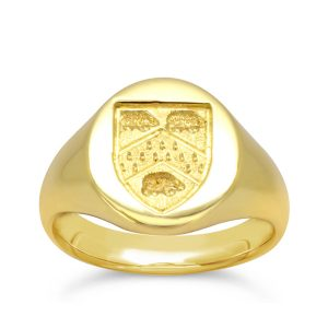 Signet Ring Yellow Gold with Shield Seal Engraving