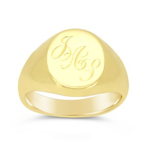 Signet Ring 9ct Gold with 3 Letter Monogram JAS