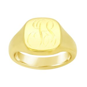 Signet Ring 18ct Gold with 2 Letter Monogram JS