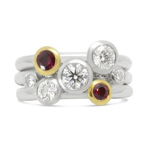 Stacking Ring White and Yellow Gold with Diamonds and Rubies