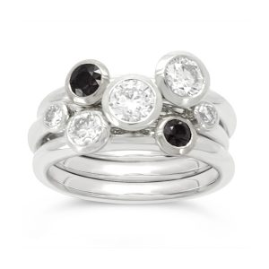 95000063 Stacking ring platinum with black and white diamonds