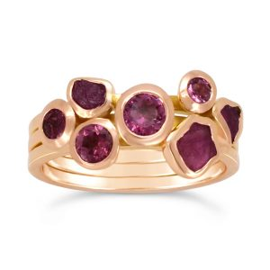 Rose Gold With Rough Ruby and Pink Tourmaline Stacking Ring