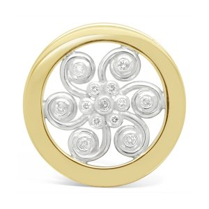 Swirl Brooch 18ct Gold Silver and Diamond
