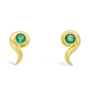 Emerald and 18ct yellow gold swirl earrings