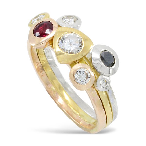 Three Colour Ruby and Diamond Pebble Stacking Ring