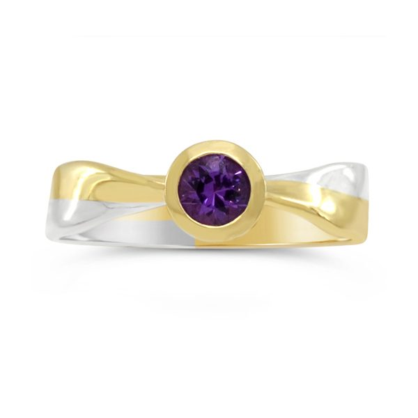 Two Colour Gold Twist ring with Amethyst