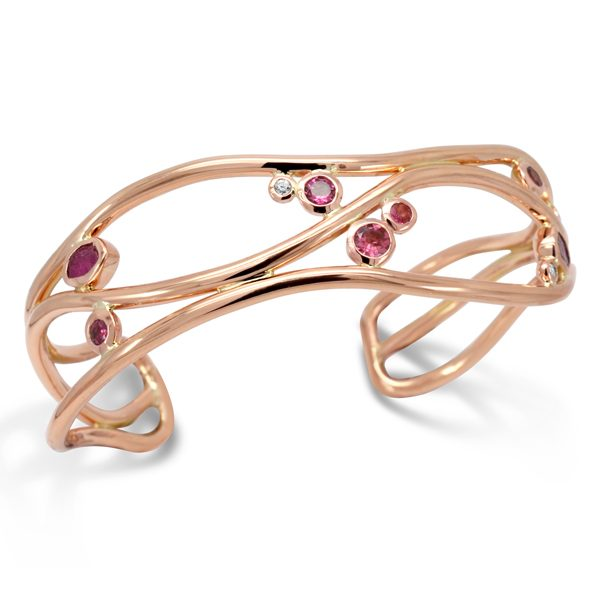 Rose Gold Wave Cuff With Rough Ruby, Pink Tourmaline and Diamonds