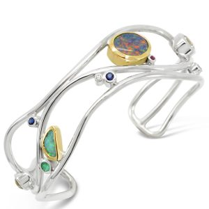 Silver and 18ct Gold Wave Cuff with Opals and Diamonds