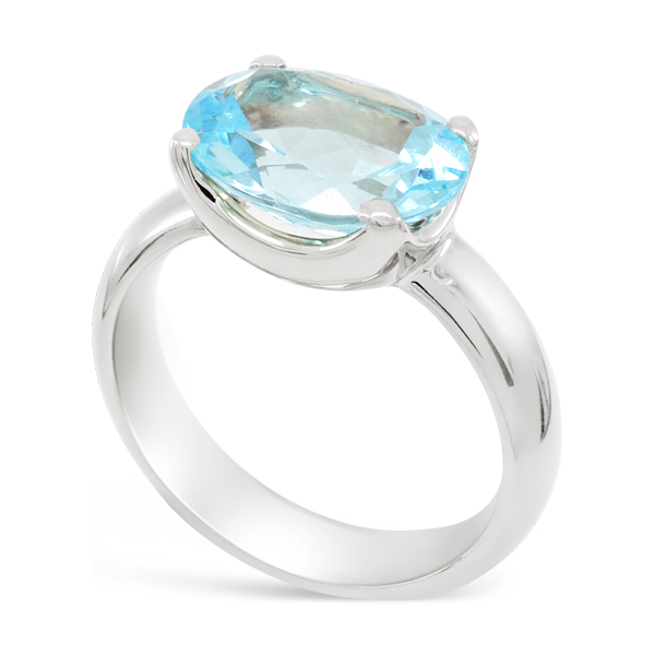 Aquamarine and White Gold Claw Set Ring