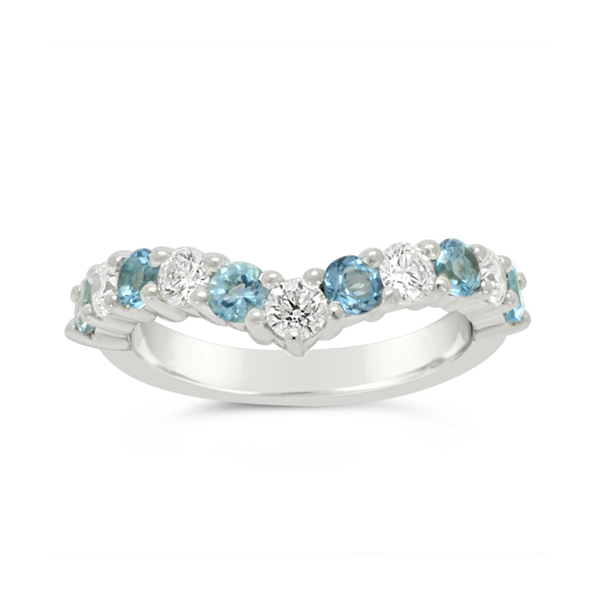 Fitted Half Eternity Ring with Diamonds and Aquamarine Pruden And