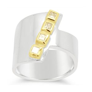 Wrap Ring Silver and 18ct Gold With Princess Cut Diamonds