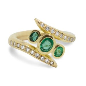 Emerald Spiky Ring