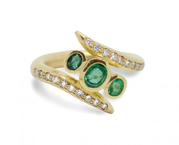 Emerald Spiky Ring In 18ct Yellow Gold With Pave Set Diamonds