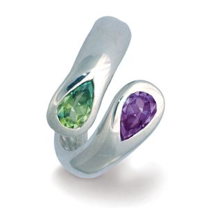 Moi et Toi Ring with Peridot and Amethyst