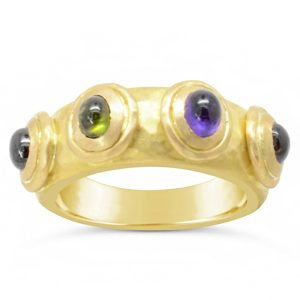 Roman Yellow Gold Ring Set with Amethyst Pink and Green Tourmaline