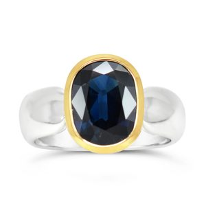 Rub Over Ring Silver Gold with Sapphire