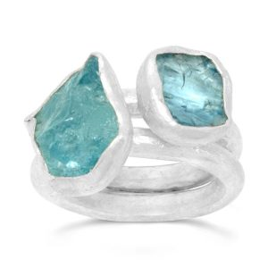 aquamarine stacking rings using rough cut crystals and hammered silver