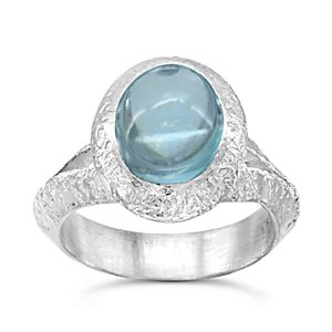 silver and blue topaz dress ring